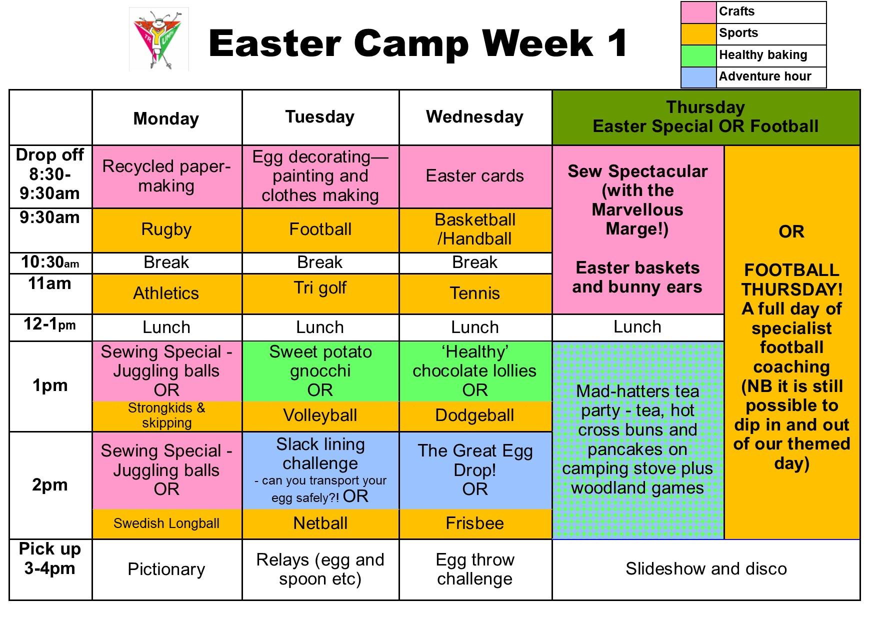 Easter camp schedule week 1