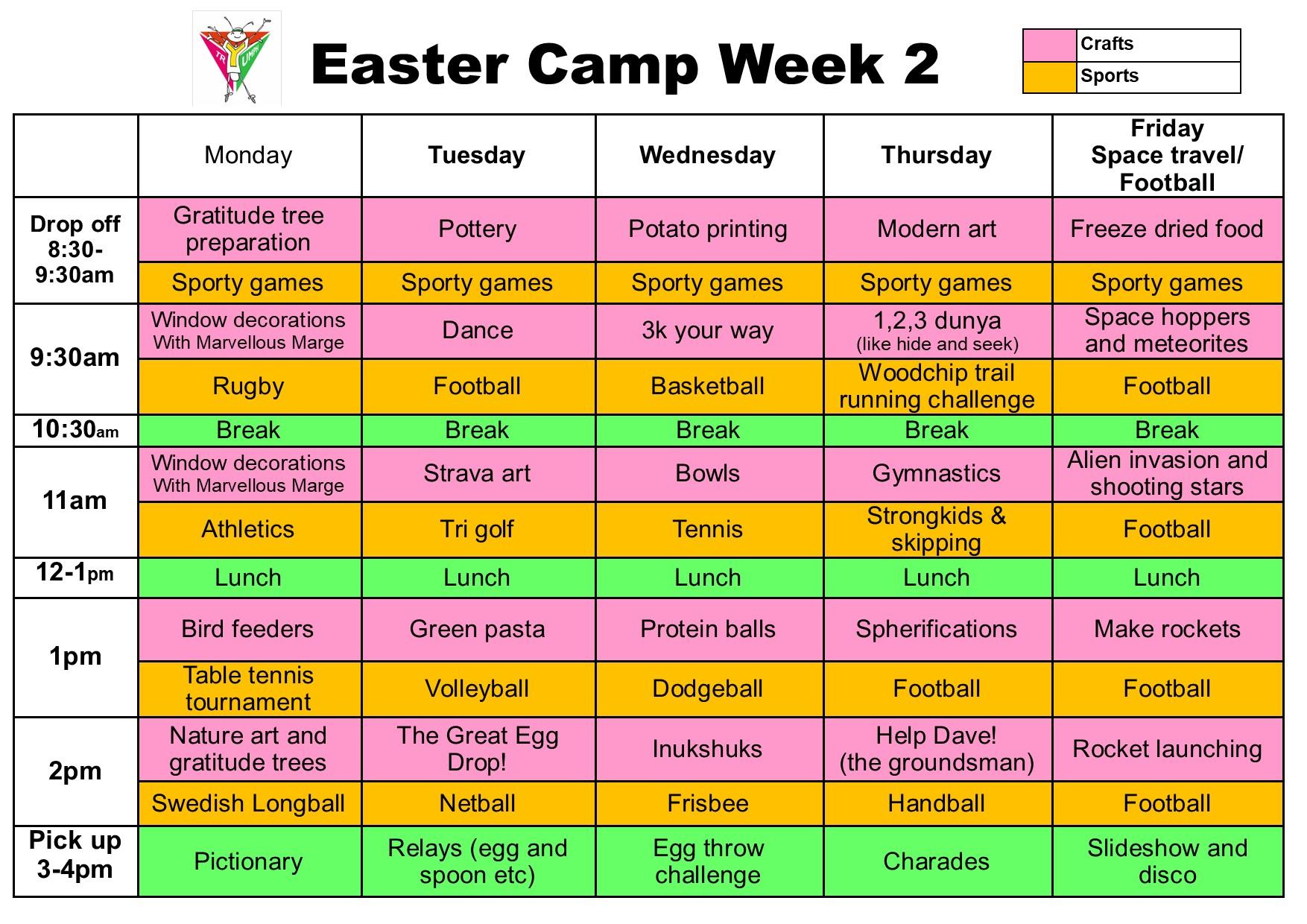 Easter Camp Schedule week 2 2021
