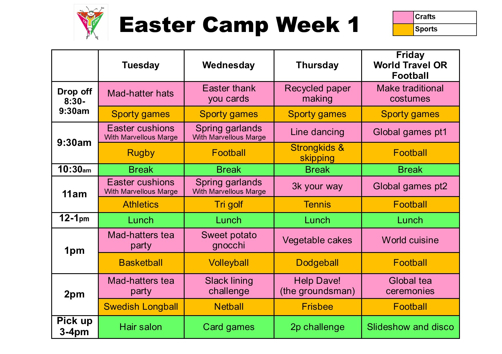 Easter camp schedule week 1 2021